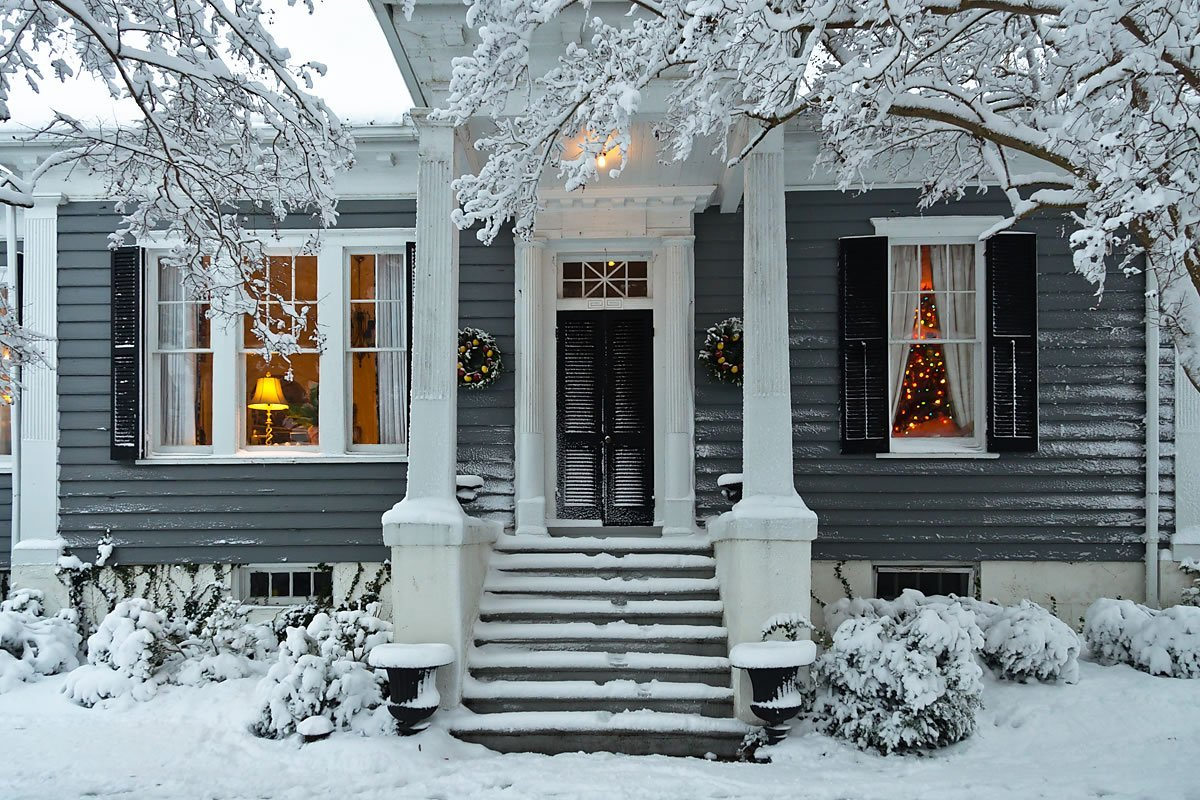 Court Street House decorated with snow