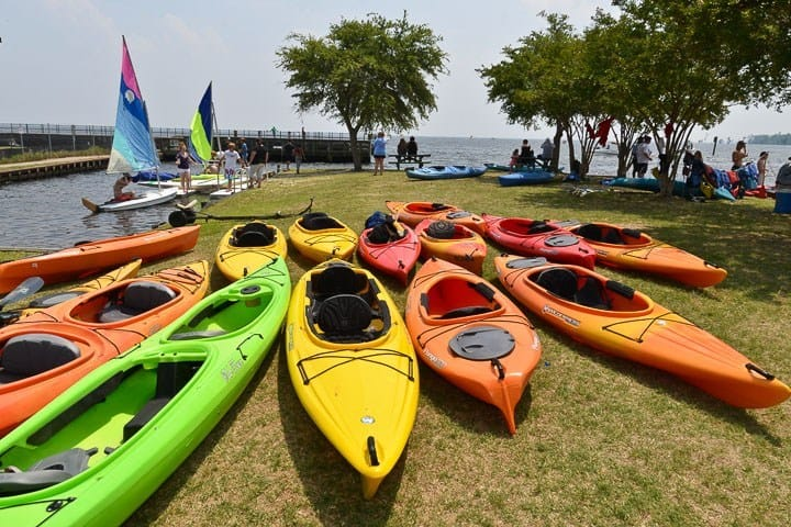 Kayaks for rent at the harbor