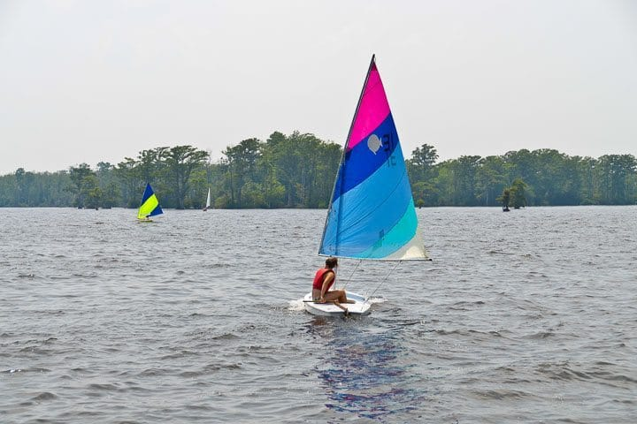 Sunfish sailing on Edenton Bay