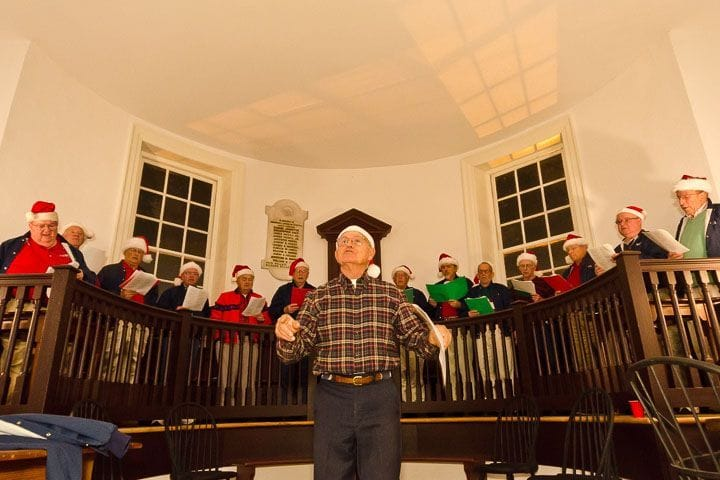 Christmas caroling in the Colonial Courthouse